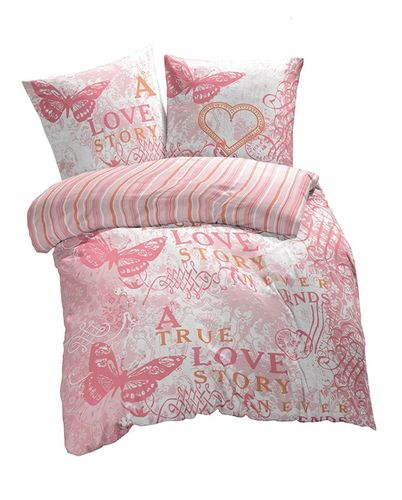 Mikrofaser Bettwäsche 135x200 + 80x80 cm - Design True Love pink